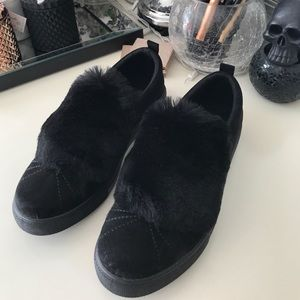 Shoes - Black Fluffy Sneakers UK size 8